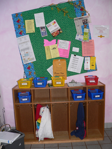 When children arrive, they hang up coats and jackets. Parents sign-in and check the bulletin board for information about field trips, the work schedule and events in the community.